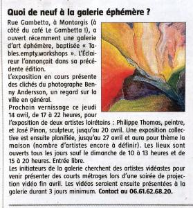 2016-04-13 L'Eclaireur du Gâtinais No 3676 / Page 14 En deux mots / Quoi de neuf à galerie éphémère ? Photographer Benny Andersson