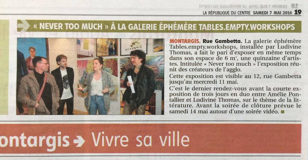 """2016-05-07 La Republique du Centre > Loiret No 21922 / Page 19 """"Never too much"""" À la galerie éphémère tables.empty.workshops Benny Andersson Artist Ludivine Thomas"""